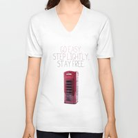 snatch V-neck T-shirts featuring Go Easy, Step Lightly, Stay Free. by Ned & Ems