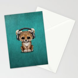 Cute Leopard Cub Dj Wearing Headphones on Blue Stationery Cards