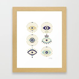 Evil Eye Collection on White Framed Art Print