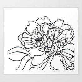 Paper-cut Peony Art Print