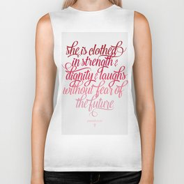 She Is Clothed Proverbs 31 25 Biker Tank