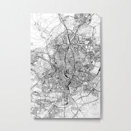 Madrid White Map Metal Print