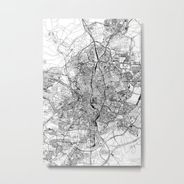 Madrid White Map Metal Print