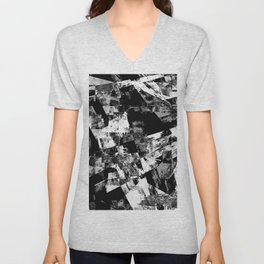 Fractured Black And White - Abstract, textured, black and white artwork Unisex V-Neck