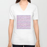 stripes V-neck T-shirts featuring Stripes.  by Elena O'Neill
