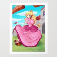 princess peach Art Prints featuring Princess Peach by Spudenski