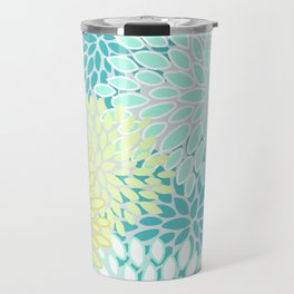 Floral Abstract Summer Pattern, Teal, Mint Green, Yellow Travel Mug