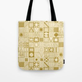 wolf geo gold ivory Tote Bag
