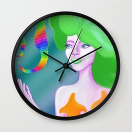 Mermaid with Rainbow Sea Horses Wall Clock