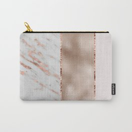 Rose metallic striping - marble and blush Carry-All Pouch