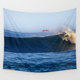 Sunrise surfing at Sunset Beach. Wall Tapestry