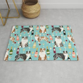 Australian Shepherd blue and red merle wine cocktails yappy hour pattern dog breed Rug