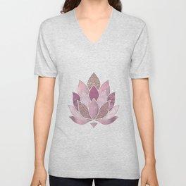 Elegant Glamorous Pink Rose Gold Lotus Flower Unisex V-Neck