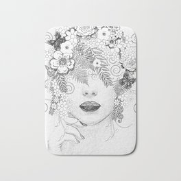 drawing woman face with flowers Bath Mat