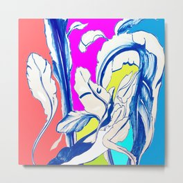 Plant in Blue Marker - Leaf of Life Miracle Leaf - Colorful Metal Print