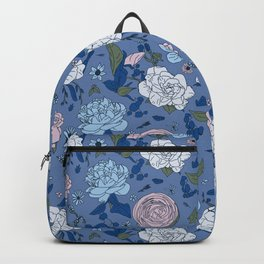 Lovely Seamless Floral Pattern With Subtle Poodles (Hand Drawn) Backpack