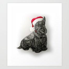 Santa Scottie Dog Art Print