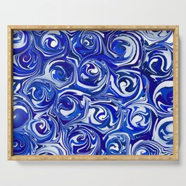 China Blue Paint Swirls Serving Tray