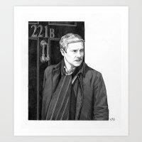 moustache Art Prints featuring Moustache by Alessia Pelonzi