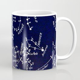 French August Star Map in Deep Navy & Black, Astronomy, Constellation, Celestial Coffee Mug