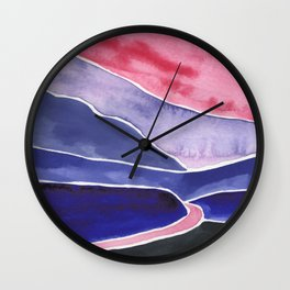 The River Flows Watercolor Painting Wall Clock