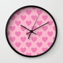 Pink Hearts Pattern Wall Clock