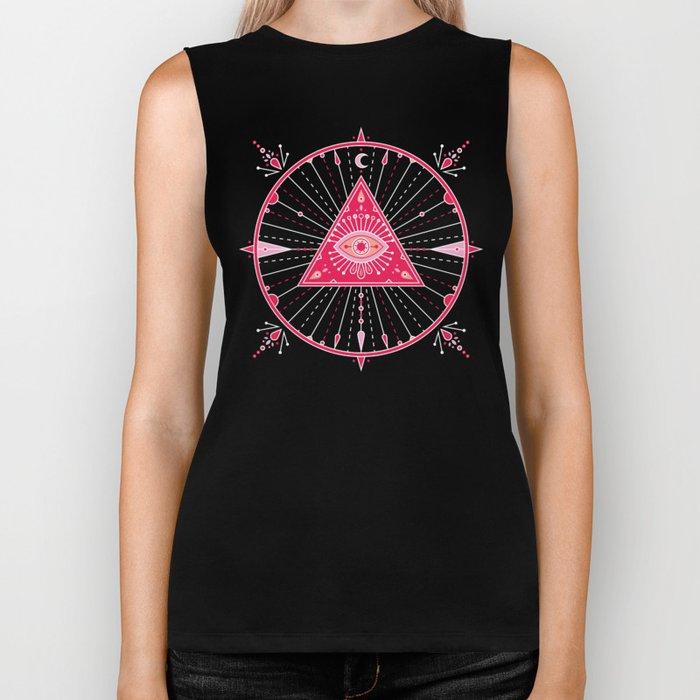 Evil Eye Mandala – Pink Biker Tank