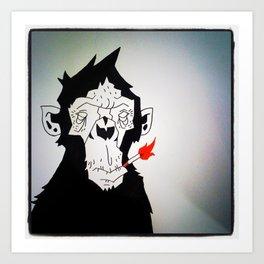 The Smoking Monkey Art Print