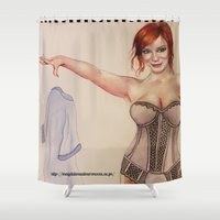 mad men Shower Curtains featuring Christina Hendricks Pin up, Mad Men Pin up by Magdalena Almero