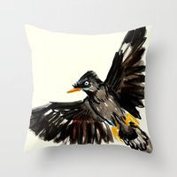 singapore Throw Pillows featuring Singapore Bird by June Chang Studio