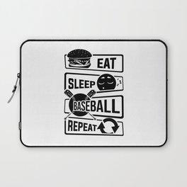 Eat Sleep Baseball Repeat - Home Run Strike Batter Laptop Sleeve