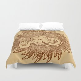 Ganesha Lineart Scroll Duvet Cover