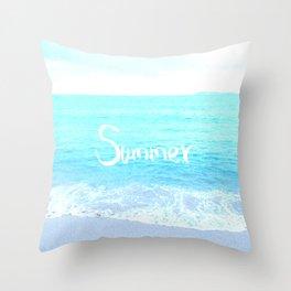 Emerald Blue wave Summer Sea Beach text Throw Pillow