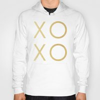 gold glitter Hoodies featuring Gold Glitter XOXO by Fancy Designs