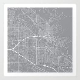 Boise Map, Idaho USA - Pewter Art Print