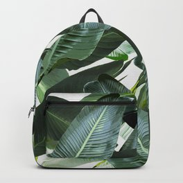 Tropical Palm leaf, banana leaf, greens, Hawaii, retro style Backpack