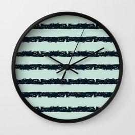 Texture Stripe Deep Blue and Light Cyan Wall Clock