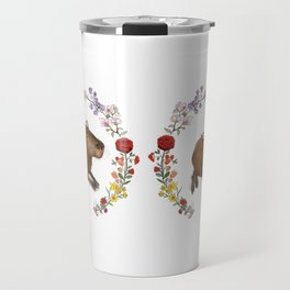 Capybara in Flower Wreath Travel Mug