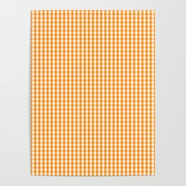 Pumpkin Orange and White Gingham Check Plaid Poster