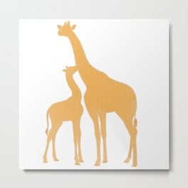 Blue Stitched Mama and Baby Giraffes Metal Print