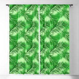 Palm Leaf Print, Emerald and Light Lime Green Blackout Curtain