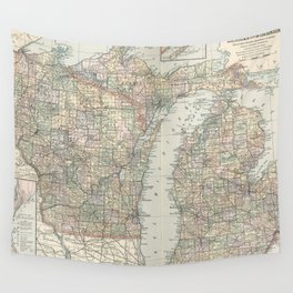 Vintage Map of Michigan and Wisconsin (1891) Wall Tapestry