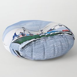 Traditional fishing boat off Tenerife in the Canary Islands Floor Pillow