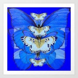 BLUE BUTTERFLIES ABSTRACT PATTERNS ART Art Print
