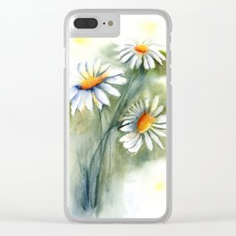 Watercolor daisies Clear iPhone Case