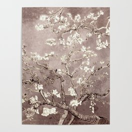 Van Gogh Almond Blossoms Beige Taupe Poster