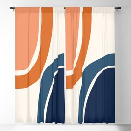 Abstract Shapes 34 in Burnt Orange and Navy Blue Blackout Curtain