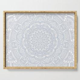 Light Gray Ethnic Eclectic Detailed Mandala Minimal Minimalistic Serving Tray