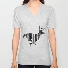 Deer forest winter silhouette Unisex V-Neck