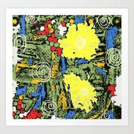 digital collagraph floral print Art Print